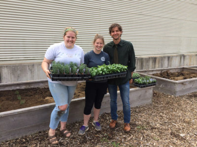 Students and faculty work in the garden for Fueled.