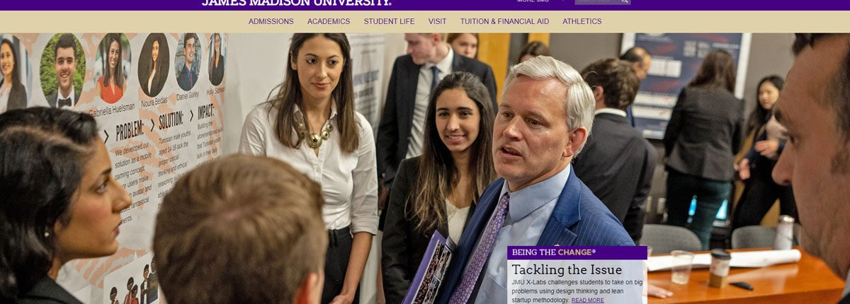 President Alger with students at 2018 JMU X-Labs Innovation Summit