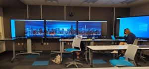A Bluescape image of New York City across three screens