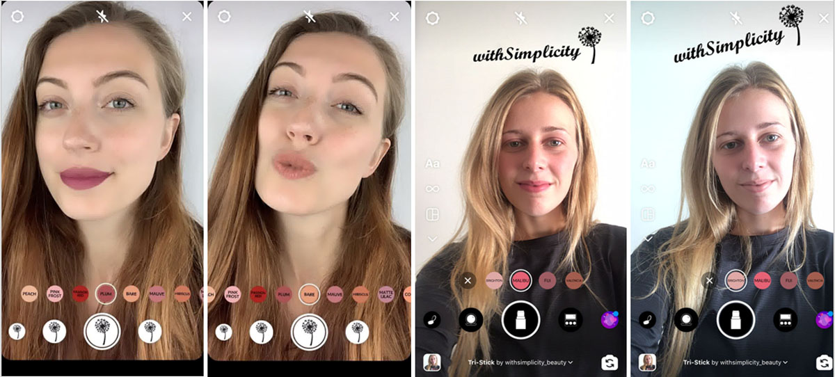 Women virtually try on different lip colors