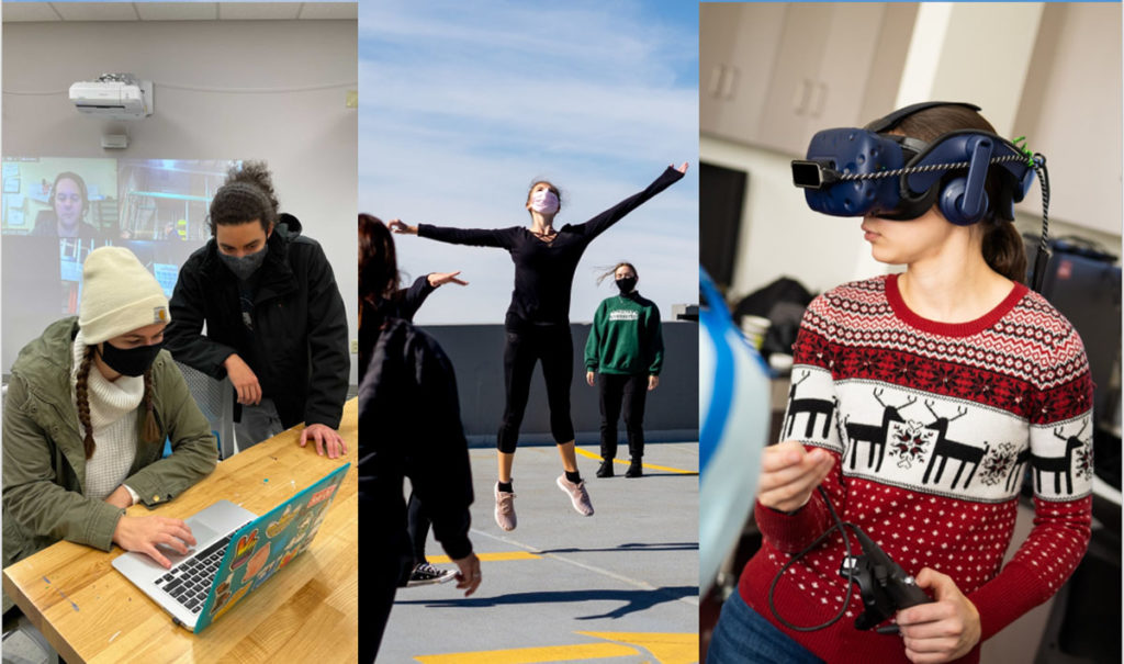 Collage of students on laptop, dancing, and wearing a VR headset